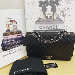 authentic Chanel Black Caviar Maxi Double Flap SHW